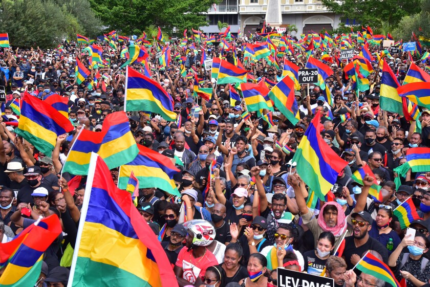 Thousands of people protest in Port Louis, Mauritius