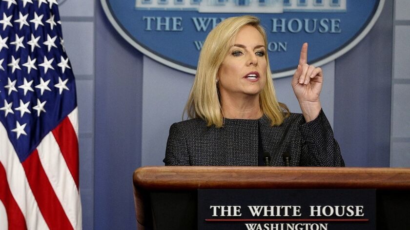 L.A. County supervisors went on record Tuesday opposing a proposed move by the Trump administration to clamp down on immigrants who use public assistance. Above, Homeland Security Secretary Kirstjen Nielsen.