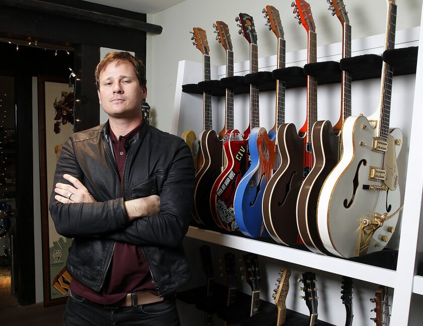 Tom DeLonge of the bands blink-182 and Angels & Airwaves at Angels' Carlsbad headquarters.