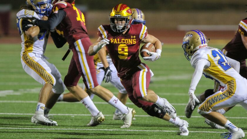 Torrey Pines' Mac Bingham, who has committed to play baseball at USC, enters tonight's football game against San Marcos with 910 yards and 14 TDs rushing.