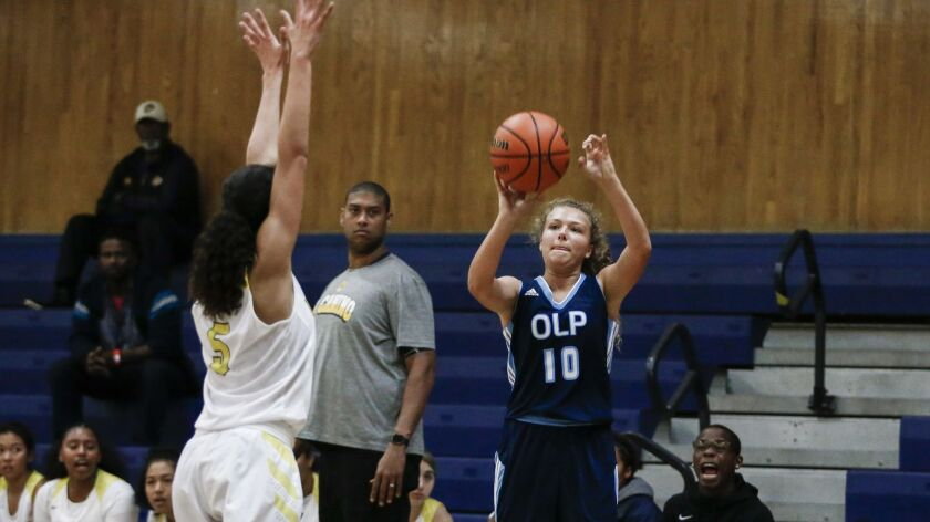 Our Lady of Peace's Bailey Gehler launches a shot for the Pilots. Gehler scored 22 points in a win over Morse.