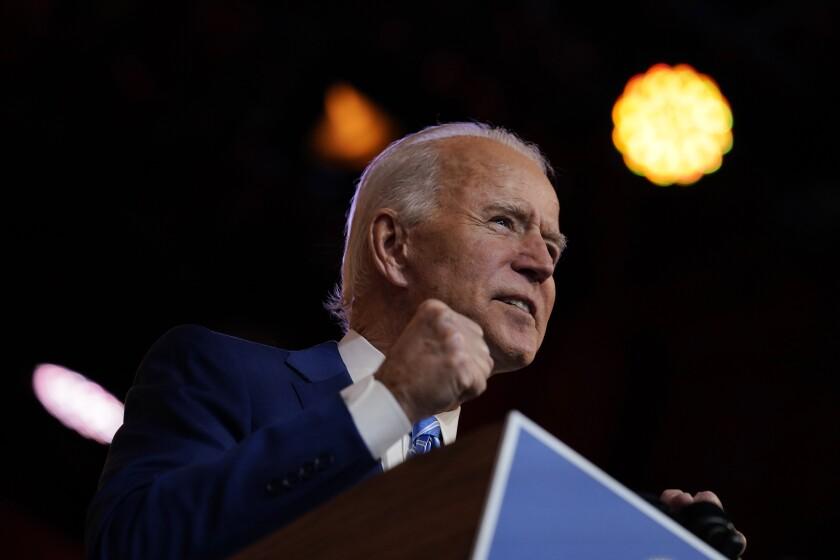 President-elect Joe Biden speaks Wednesday at the Queen theater in Wilmington, Del.