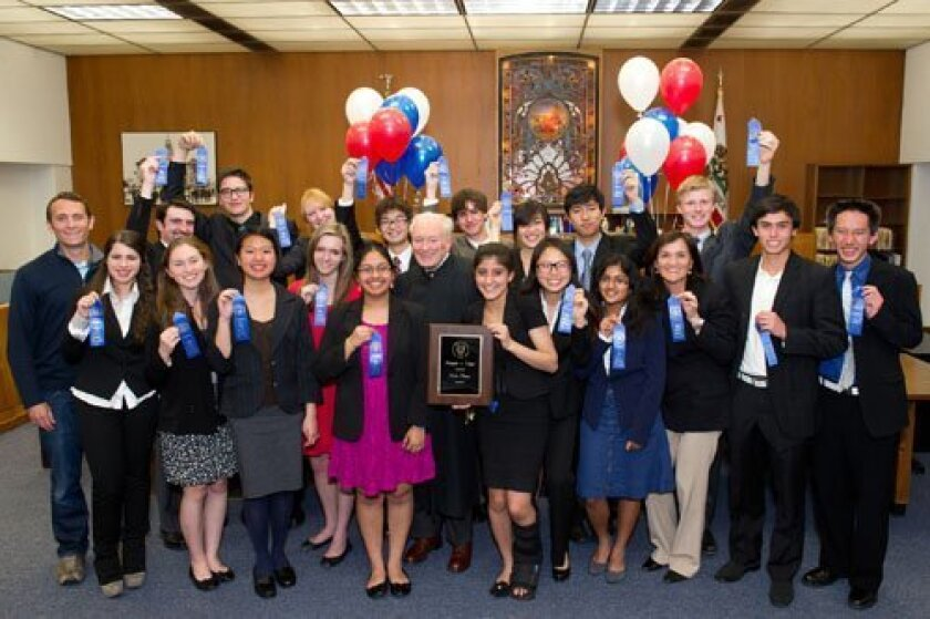 Torrey Pines High School students won the seventh annual San Diego County High School Mock Trial Competition on March 2.
