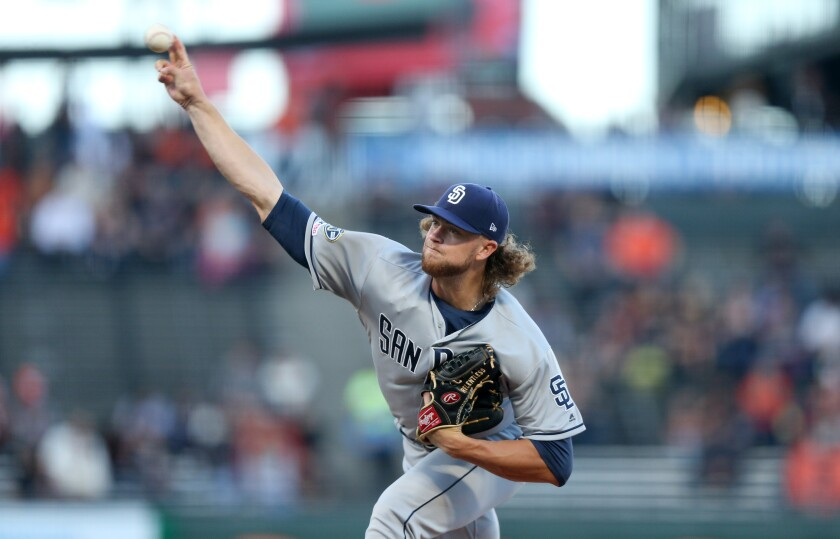 Chris Paddack of the San Diego Padres pitches against the San Francisco Giants in the first inning at Oracle Park on Thursday.