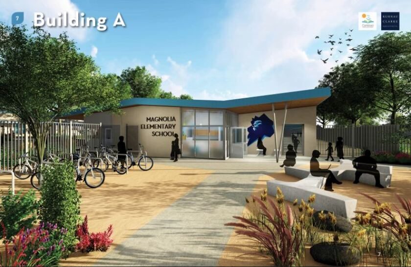 A rendering of improvements planned for Magnolia Elementary School in the Carlsbad Unified School District. The district just issued $85 million in bonds as part of a $265 million school construction program.