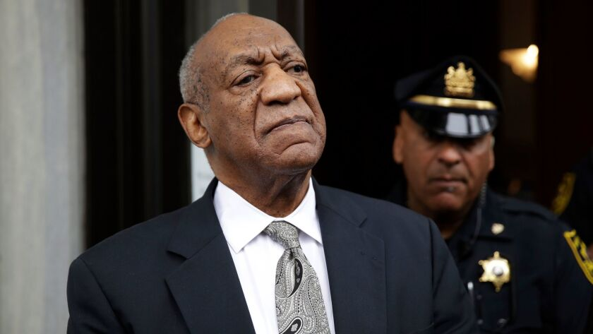 FILE - In this Saturday, June 17, 2017, file photo, Bill Cosby exits the Montgomery County Courthous