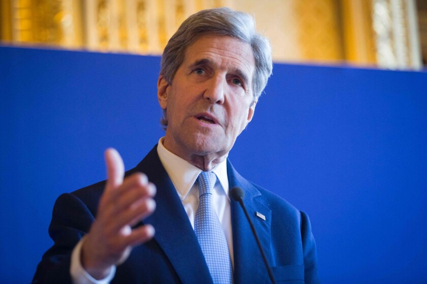 U.S; Secretary of State John Kerry speaks following meeting between the U.S. and its European allies on the situations in Libya, Syria, Ukraine and Yemenon on March 13, 2016 in Paris.