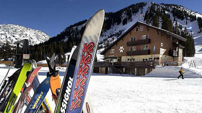"""A rack full of skis at Alta is emblematic of the resort for what is not there...snowboards. True to its motto,""""Alta is for skiers"""", the resort still does not allow boarders."""