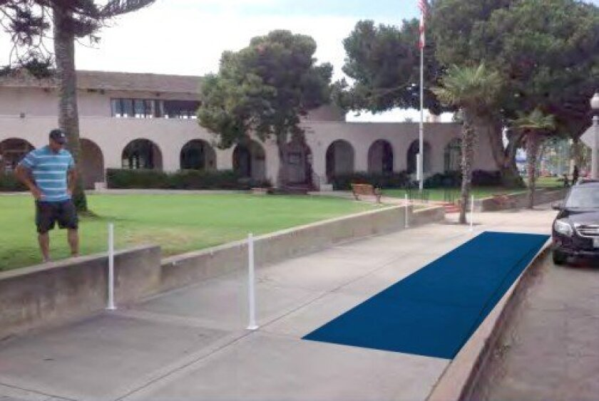 Bike-sharing station No. 81 (in blue) is proposed for the sidewalk in front of La Jolla Recreation Center (on Prospect Street).