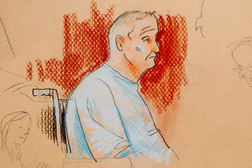 This courtroom sketch depicts Robert Bowers, who was wounded in a gun battle with police as he appeared in a wheelchair at federal court in Pittsburgh.