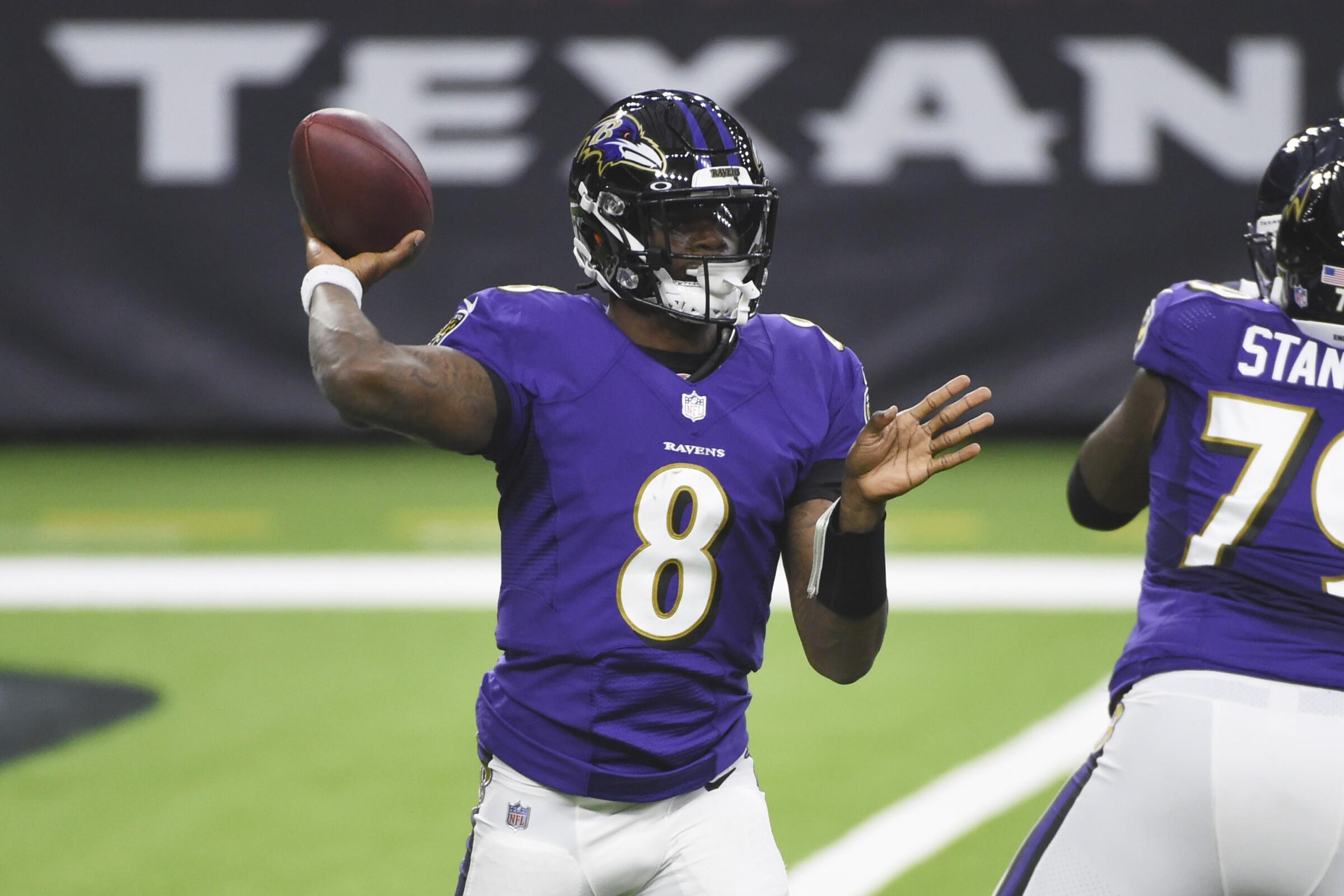 Baltimore Ravens quarterback Lamar Jackson throws during a win over the Houston Texans.