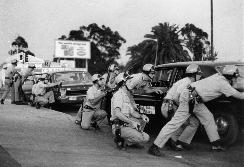 San Diego police during a disturbance near Mountain View Park at 43rd Street and National Avenue on July 13, 1969