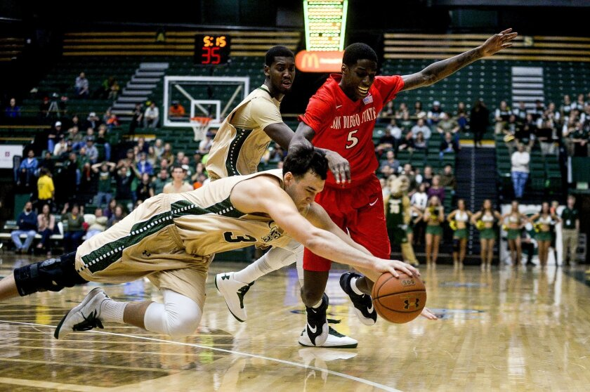 Colorado State's JJ Avila dives for the ball during the second half in front of San Diego State's Dwayne Polee II (5).
