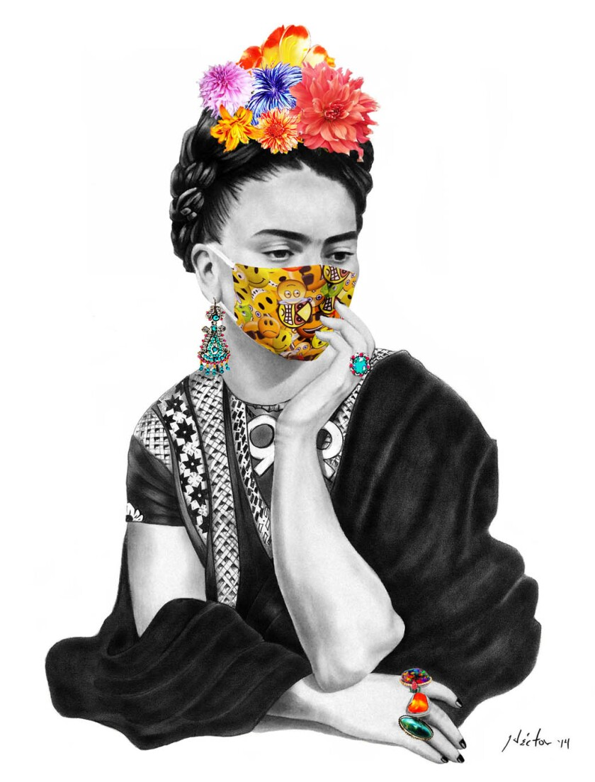 An art print of Frida Kahlo wearing a mask by Hector Silva.