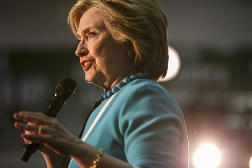 Former Secretary of State Hillary Clinton speaks at East Los Angeles College on May 5.
