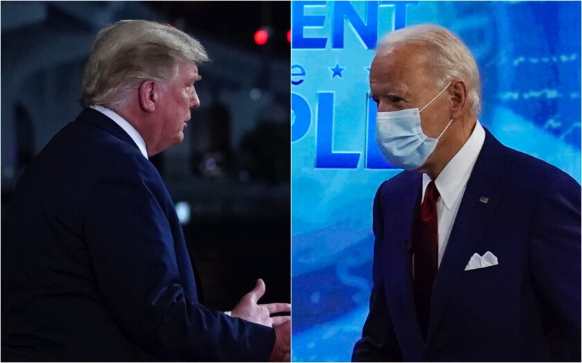 Diptych of President Trump and Joe Biden in their respective TV town halls
