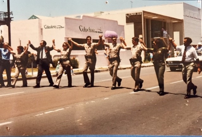 San Diego police officers marching in the Pride Parade in 1992.