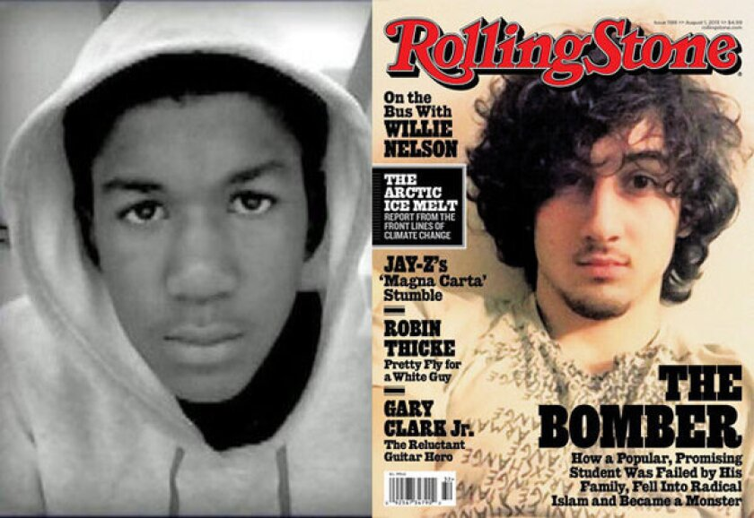 Trayvon Martin, left, is shown in an undated family photo, and Dzhokhar Tsarnaev, right, is portrayed on the cover of Rolling Stone magazine.