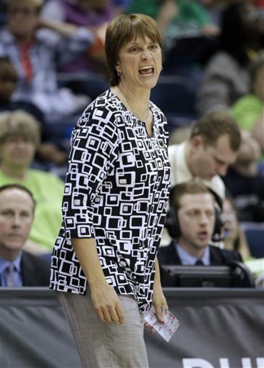 Nebraska head coach Connie Yori directs her team during a regional semifinal game against Duke in the women's NCAA college basketball tournament Sunday, March 31, 2013, in Norfolk, Va.  (AP Photo/Steve Helber)
