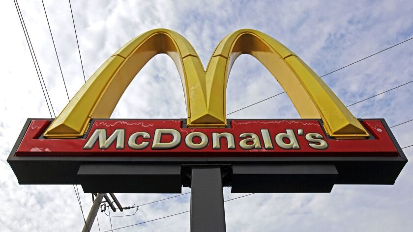 A McDonald's restaurant sign is seen at a McDonald's restaurant in Chicago on Oct. 4, 2013.