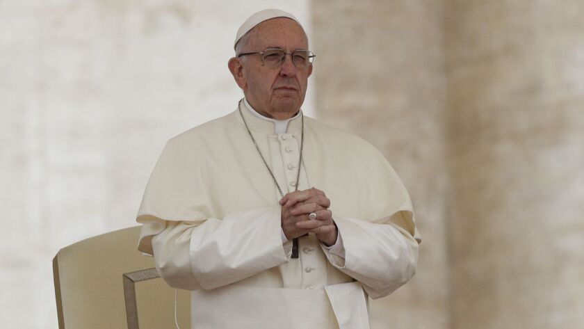 Pope Francis attends his weekly general audience, in St. Peter's Square, at the Vatican, Wednesday,
