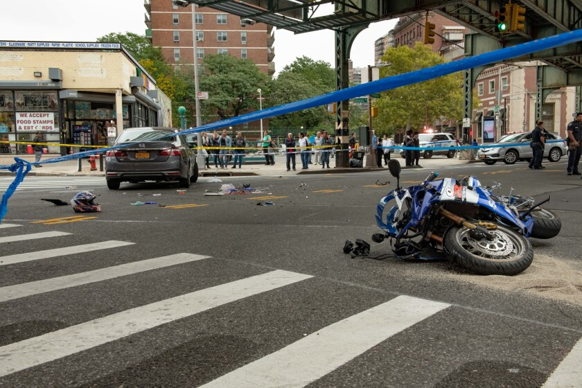 A motorcyclist died Saturday after he collided with a car in a Brooklyn intersection, police said after a collision with an off duty firefighter at the intersection of Broadway and Union Avenue in Brooklyn on Saturday October 6, 2018.