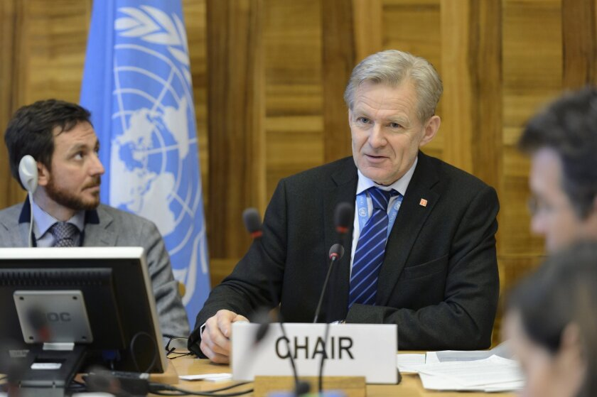 Jan Egeland, Senior Advisor to the United Nations Special Envoy for Syria, speaks  at the European headquarters of the United Nations, in Geneva, Switzerland, on Friday, Feb. 12, 2016.  (Martial Trezzini/Keystone via AP)