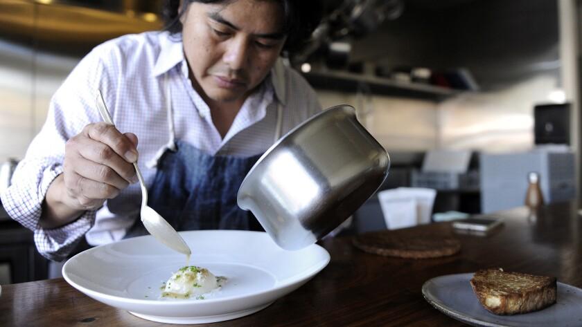 Gary Menes cooks Long Beach-farm-to-Koreatown-counter cuisine at Le Comptoir.