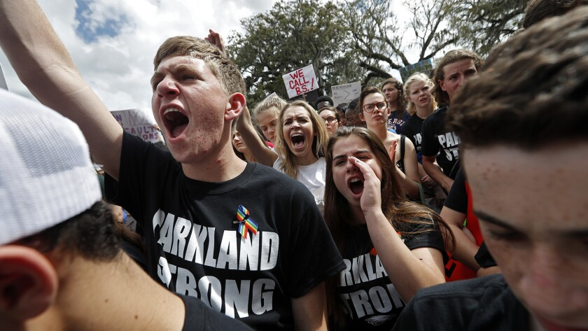 Student survivors from Marjory Stoneman Douglas High School participate in a rally for gun control r