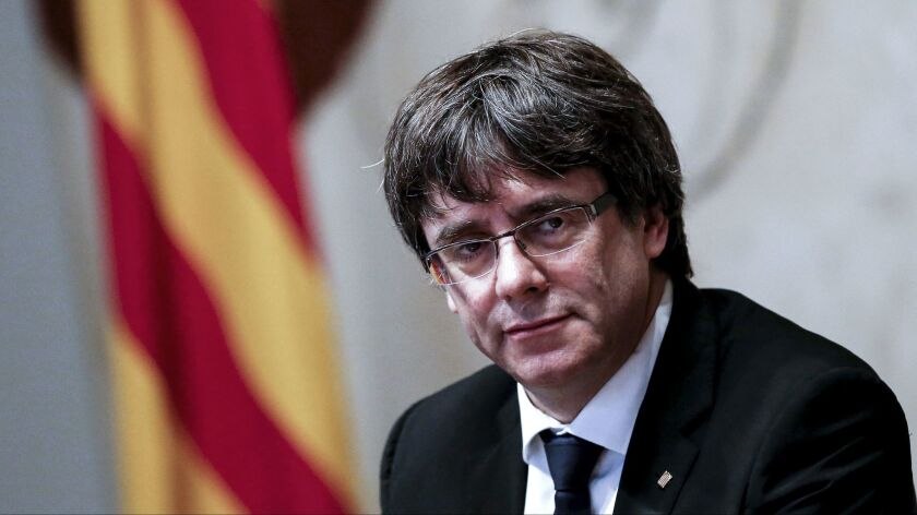 Catalan regional government president Carles Puigdemont attends a meeting Oct. 10, 2017, in Barcelona.