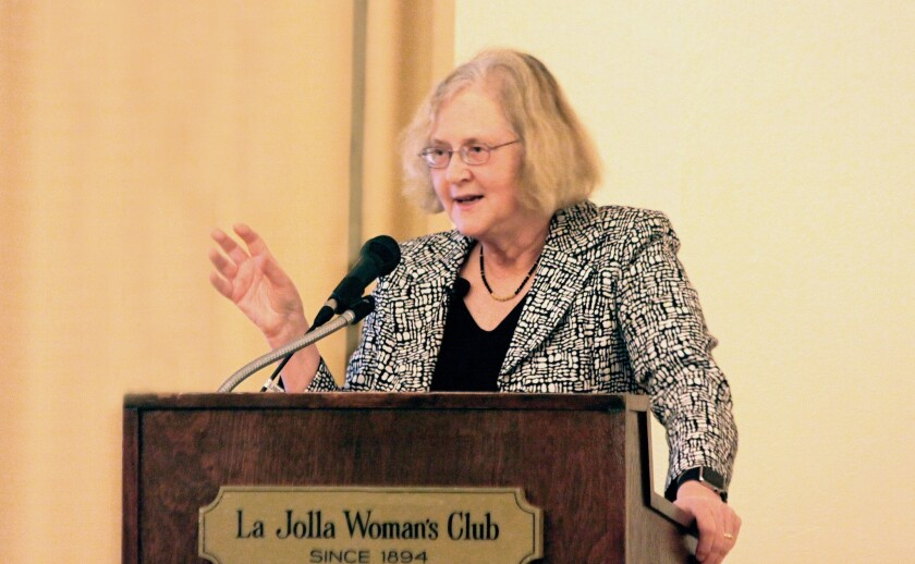 Salk Institute president and Nobel Prize winner Elizabeth Blackburn speaks at La Jolla Woman's Club, Nov. 30.