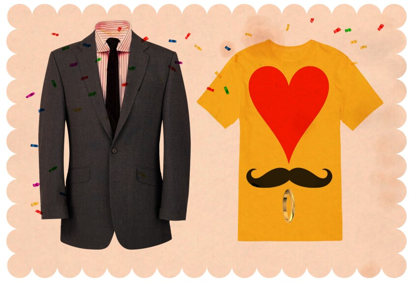 An illustration of a man's suit and a man's T-shirt, with a picture of a heart, a moustache and a ring on it.