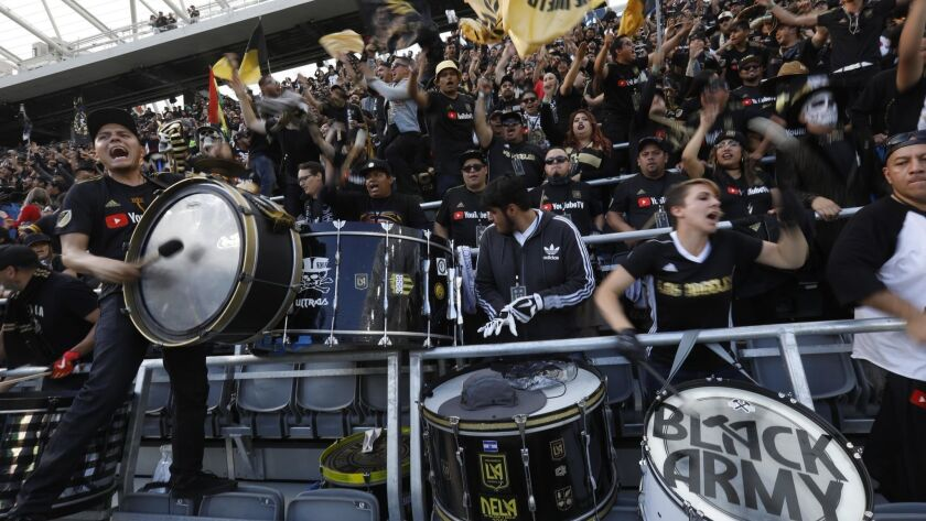 LOS ANGELES, CA - APRIL 29, 2018 - Sounders fans chant before the LAFC against the Seattle Sounders