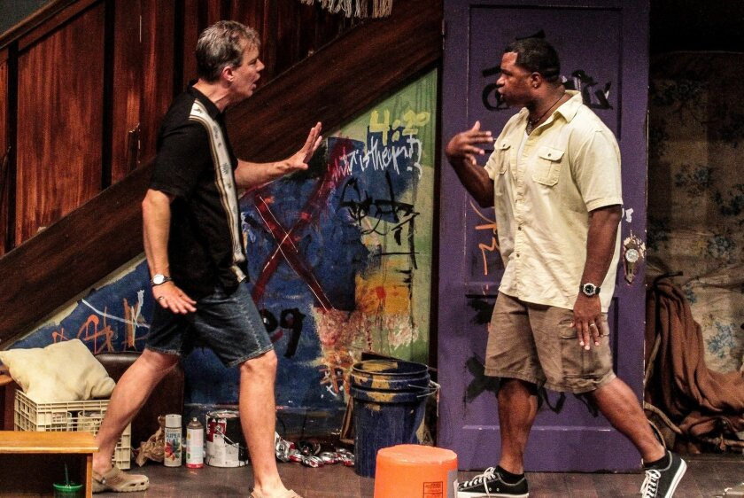 "Jason Heil and Matt Orduña in San Diego Repertory Theatre's ""Clybourne Park."""