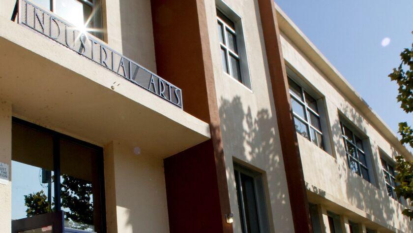 BAKERSFIELD, CA. - OCTOBER 13, 2011: The Industrial Arts Building on the Bakersfield High School Cam