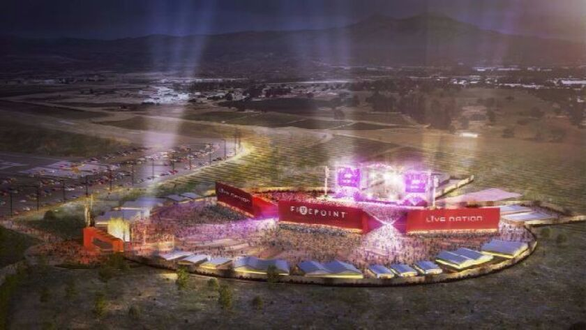 Concert promoter Live Nation and development manager FivePoint will partner in building a 12,000-seat interim amphitheater in Irvine scheduled to open for the summer concert season.