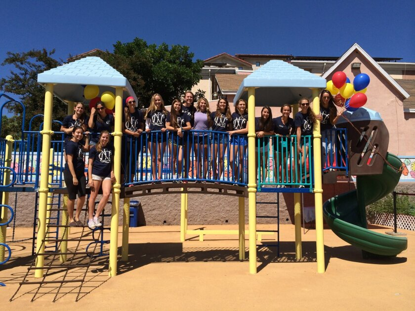 The Class of 2015 of the San Diego Del Norte Chapter of National Charity League after completing the Jinny Jo Park Renovation at Father Joe's Villages. Top row, L-R: Emma Conger, Hayley Scarano, Avery Van Houten, Hanna Schulman, Molly Stead, Georgia Pace, Kennedy Erdossy, Kate Swanson, Natalie Kourie, Taylor Seamans, Tess Cimino, Alexandra Stevenson. Bottom row: Elyse Rios, Caroline Thomas.