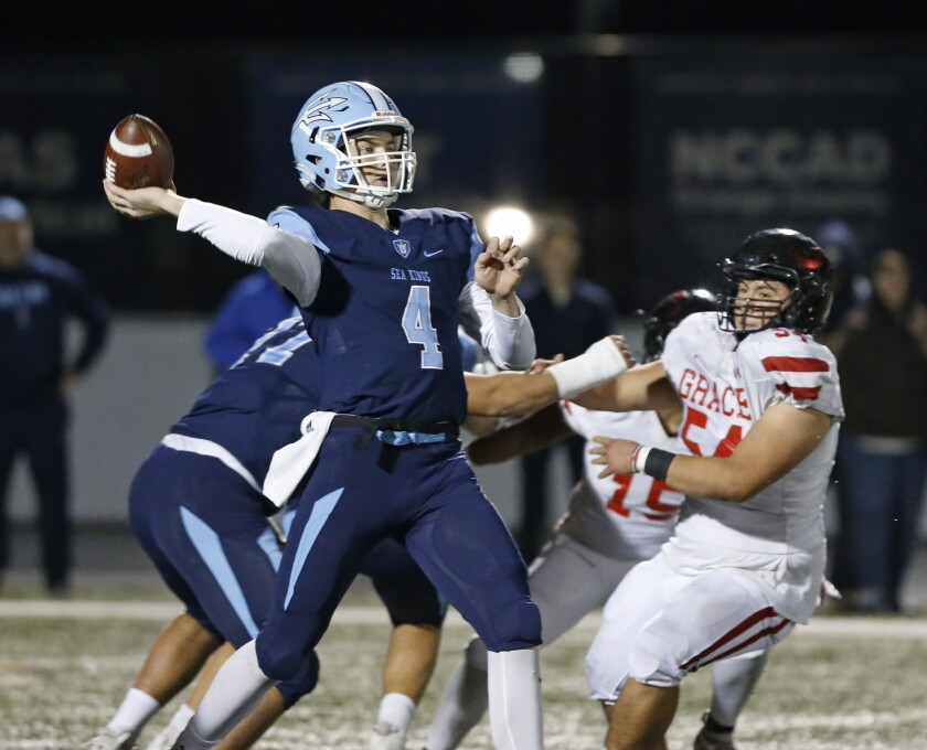 Corona del Mar quarterback Ethan Garbers throws a pass against Grace Brethren in the CIF Southern Section Division 3 title game at Newport Harbor High on Nov. 29, 2019.