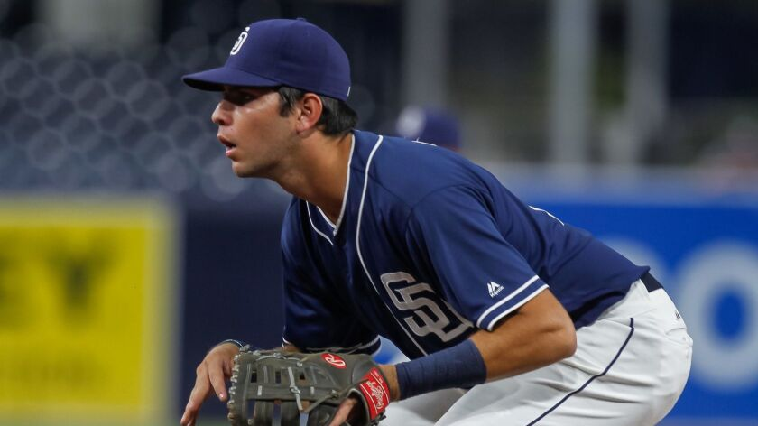 SAN DIEGO, CA September 30th, 2017   Padres minor league player Hudson Potts during their game a
