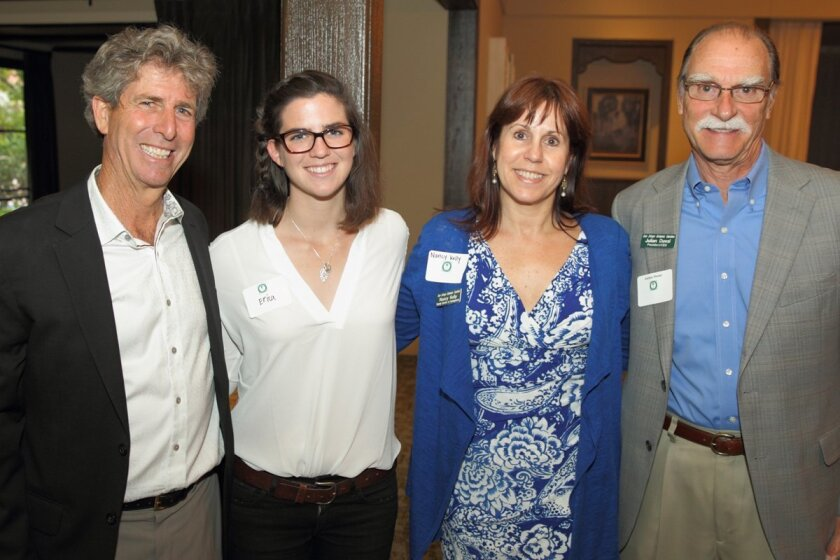 At the Rancho Santa Fe Garden Club's annual meeting were Bill Toone, executive director of the Ecolife Foundation, Erica Holland, Nancy Kelly (director of development for the San Diego Botanic Garden), and Julian Duval, president and CEO, San Diego Botanic Garden. Photo by Jon Clark