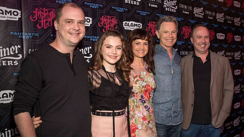 Director Mike Flanagan, from left, with actors Chiara Aurelia, Carla Gugino, Bruce Greenwood and pro