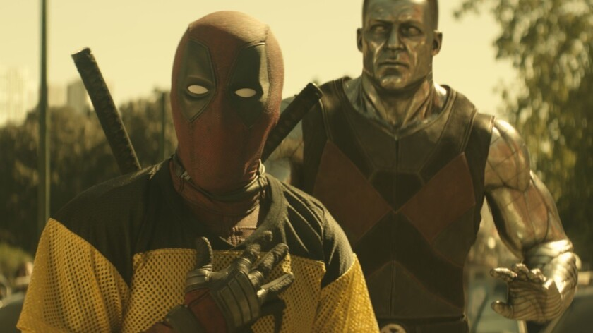 """Deadpool (Ryan Reynolds) and Colossus in a scene from """"Deadpool 2."""""""