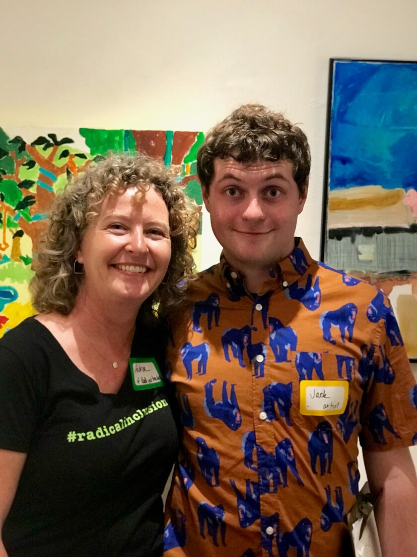"Solana Beach resident and author Andrea Moriarty joined Jack Medved, an artist who is autistic, at the opening of the ""Radical Inclusion"" art exhibition on Aug. 3."
