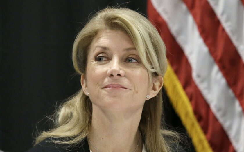 Texas gubernatorial candidate Wendy Davis has faced scrutiny over her background as a young single mother. Above, Davis at an education meeting in Arlington, Texas, on Jan. 9.