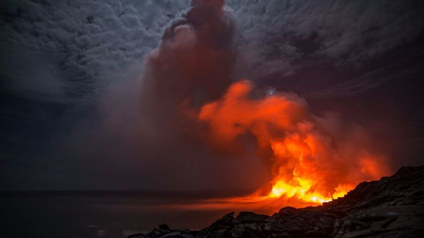 A closeup of the lava entry point on Hawaii Island,