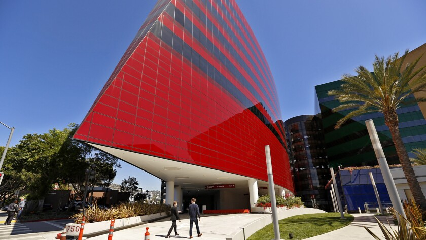 The red building at Cesar Pelli's Pacific Design Center in West Hollywood.