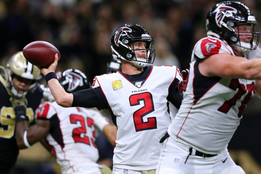 Atlanta Falcons quarterback Matt Ryan passes against the New Orleans Saints.