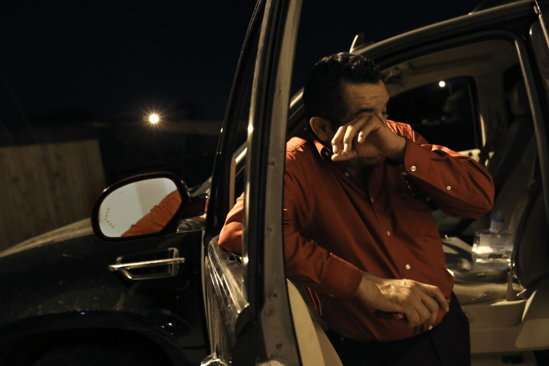 Some days, like this one, Juan Lopez works late into the night moving bodies in Texas' Rio Grande Valley.