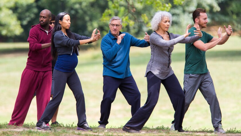 """Robert De Niro does tai chi on set of """"The Intern"""" in Prospect Park in Brooklyn on Sept. 10, 2014."""