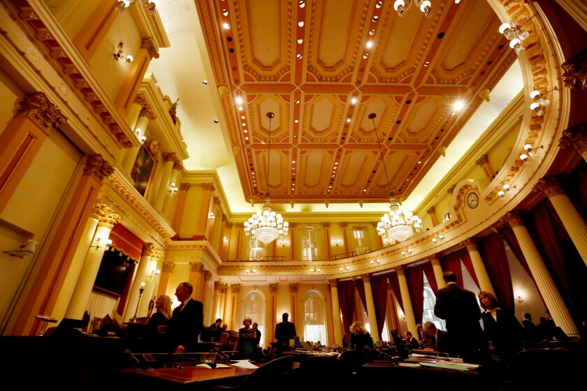 Democrats will now control supermajorities in the 40-member state Senate, whose chambers are seen above, and in the 80-member state Assembly.